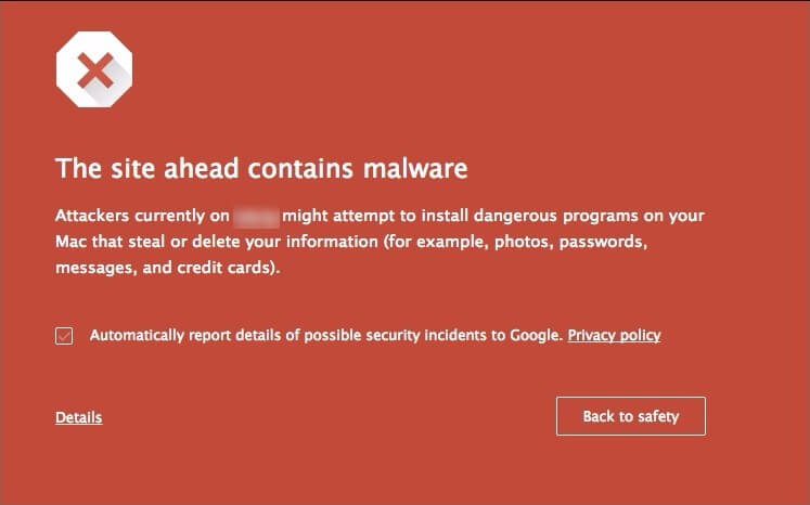 Redwood SEO Google Malware Message image